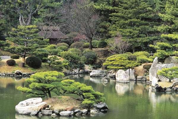 Shukkei-en, historic Japanese garden in city of Hiroshima, Japan
