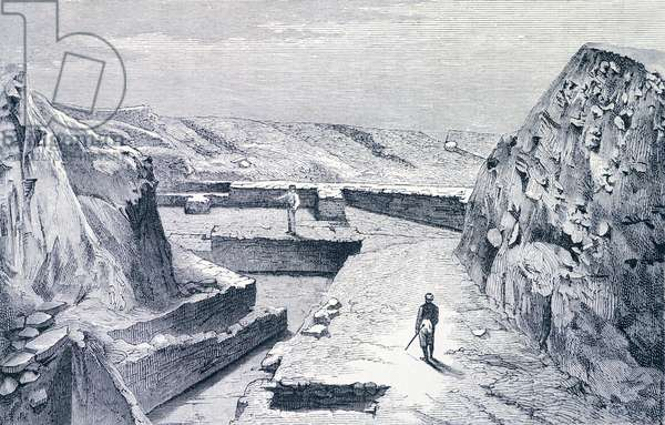 The double doors of Ilios in Troy (UNESCO World Heritage List, 1998), viewed from the northeast during Heinrich Schliemann's excavations in June 1873. Engraving.