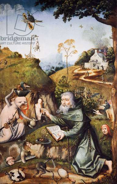 The Temptation of Saint Anthony, by Hieronymus Bosch (ca 1450-1516), oil on panel. Netherlands, 16th century.