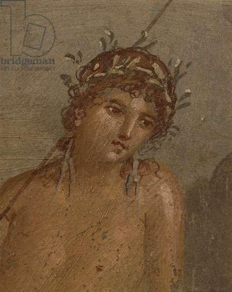 Italy, Campania Region, Naples Province, Pompei, House of Marco Lucrezio Frontone Fresco depicting Narcissus by pond