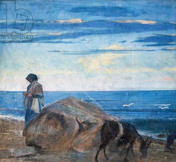 Goat herder by the sea, 1867, by Giovanni Boldini (1842-1931), tempera on wall, 106x118 cm, from Villa La Falconiera, Pistoia, Italy, 20th century