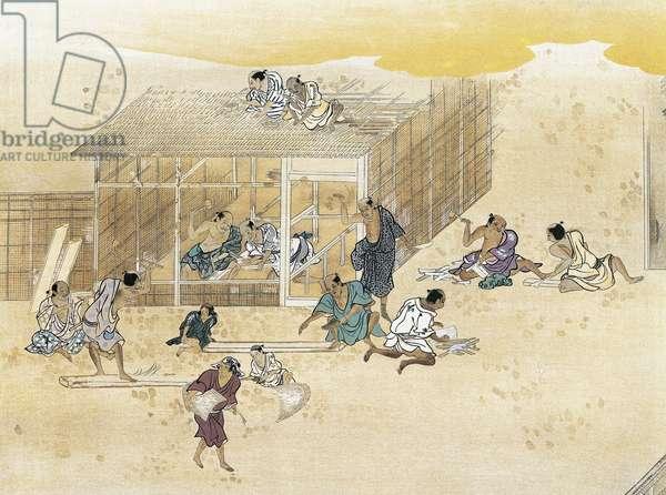 Construction of house, painting on silk, artist from Kano school, ukiyo-e style painting, Japan, Japanese Civilisation, Azuchi-Momoyama period, 16th-17th century