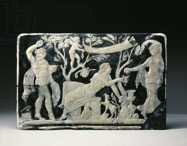 Blue glass and white vitreous paste cameo panel, showing initiation of Ariadne to Dionysian mysteries, from House of F. Rufus, Pompei