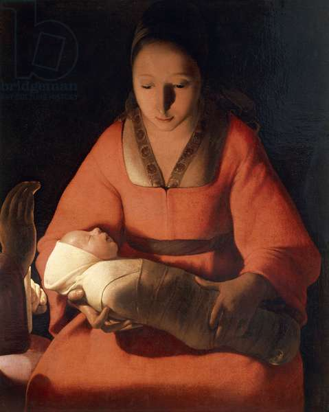 Newborn, 1645-1648, by Georges de La Tour (1593-1652), oil on canvas, 76x91 cm, Detail