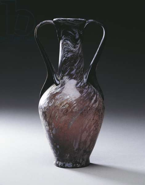 Purple white-veined glass amphora, from Pompei