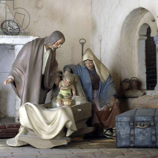 Nativity, nativity scene set in a Catalan masia (rural building), by Jacinto Capdevila Mogas, Spain, 20th century