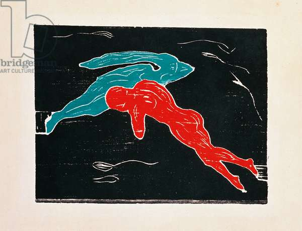 Meeting in outer space, 1899, by Edvard Munch (1863-1944), woodcut. Norway, 19th century.