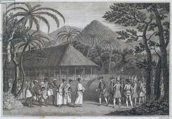Samuel Wallis meeting Queen Oberea in Tahiti, Society Islands, 1767, engraving from Account of voyage round world in years between 1766 and 1768 by Samuel Wallis (1728-1795), Polynesia, 18th century