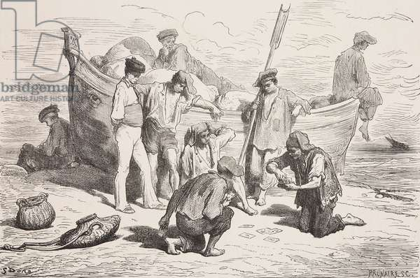 Charranes and marineros (villains and sailors) on beach, Spain, drawing by Dore, from Travels in Spain by Gustave Dore (1832-1883) and Jean Charles Davillier (1823-1883), 1862, province of Granada