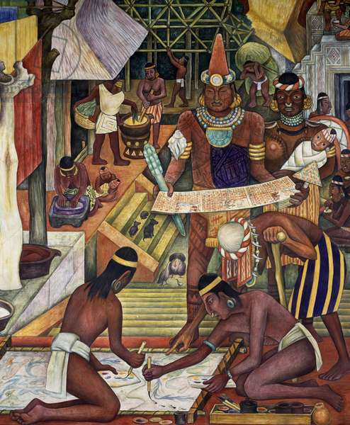 The Tarascan civilisation, by Diego Rivera (1886-1957), detail from the National Palace frescoes, Mexico City. Mexico, 20th century.