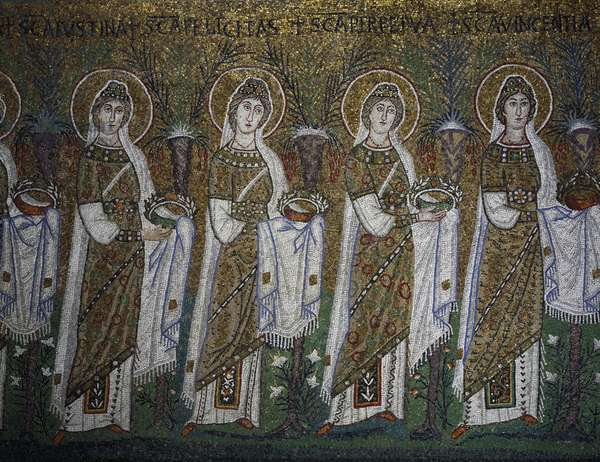 Holy Virgins Procession, mosaic, north wall, lower level, Basilica of Sant'Apollinare Nuovo (UNESCO World Heritage List, 1996), Ravenna, Emilia-Romagna. Detail. Italy, 6th century.