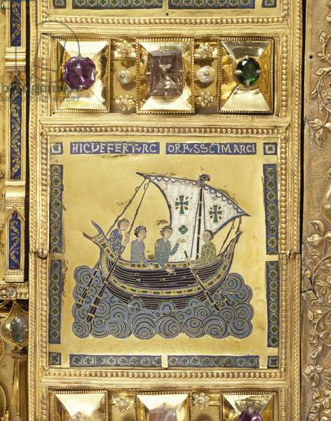 Transport of St Mark's body, Pala D'Oro (Golden Pall) altarpiece, St Mark's Basilica, Venice. Goldsmith art, Italy, 12th-14th century. Detail.