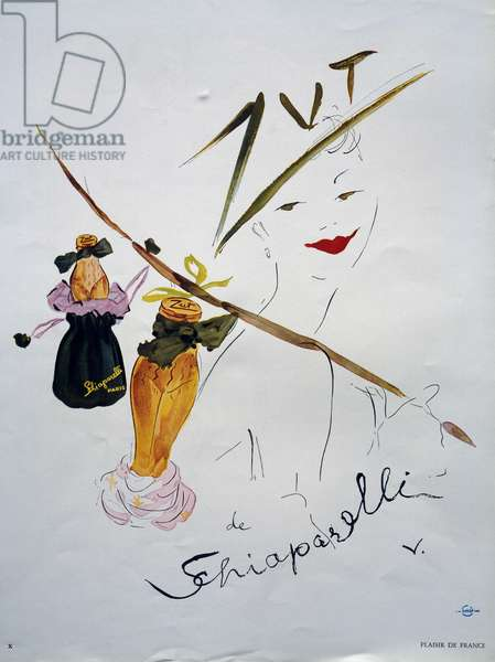 Advertising illustration for the perfume Zut, 1951, by Elsa Schiaparelli (1890-1973), created by Marcel Vertes (1895-1961). France, 20th century.