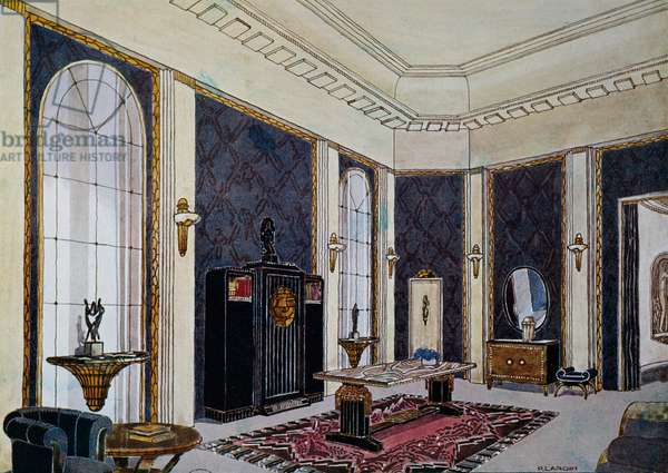 Design for salon for Ecole Boulle, Watercolor by Andre Frechet, Pierre and Henri Martin Lardin, Presented at International Exposition of Decorative Arts in Paris in 1925, France, 20th century