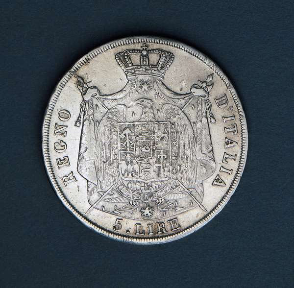 5 lire of Napoleon Bonaparte King of Italy, 1808, minted at Milan Mint, reverse, Milan, 19th century