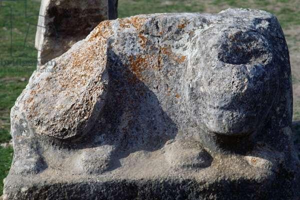 Lion statue, Hattusa (Bogazkoy), capital of Hittite empire (Unesco World Heritage List, 1986), Bogazkale, Turkey, Hittite civilization, 2nd millennium BC