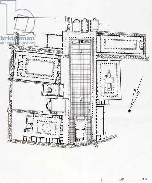 Reconstruction of plan of Forum of Pompeii, drawing, Roman civilization
