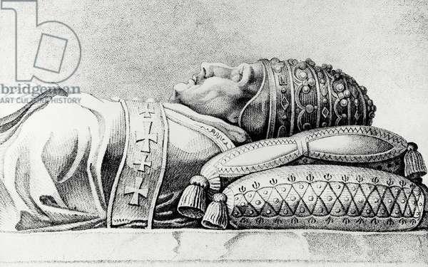 The remains of Pope Innocent IV, born Sinibaldo Fieschi (1195-1254), Italian pontiff from 1243, 13th century