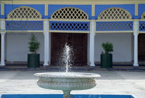 Fountain in Great courtyard of Bahia palace, Marrakesh, Morocco, 19th-20th century