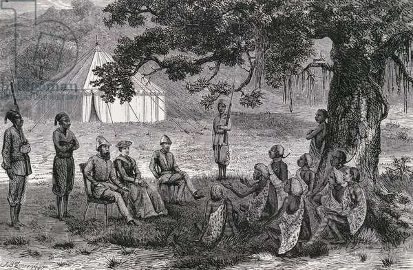 Samuel White Baker and his wife being received by head of Faieera, Rot Jarma, engraving from Ismailia, from a narrative of expedition to Central Africa for suppression of slave trade, by Samuel White Baker, 1874. Africa