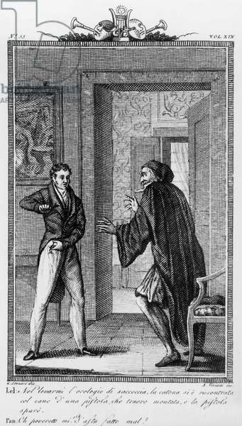 Lelio and Pantalone, illustration for 12th scene of 2nd act of Liar, comedy by Carlo Goldoni (1707-1793), engraving by Antonio Viviani (1797-1854) after drawing by G Steneri, from Commedie di Carlo Goldoni