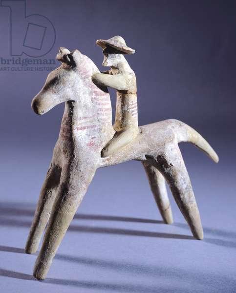 Knight, terracotta statuette from Archaic period, Greek Civilization, 7th Century BC