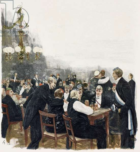Fidelitas (German Student Corps banquet), illustration by August Blunck (1858-1946), woodcut from Moderne Kunst (Modern Art), illustrated magazine published by Richard Bong, 1892-1893, Year VII, Berlin