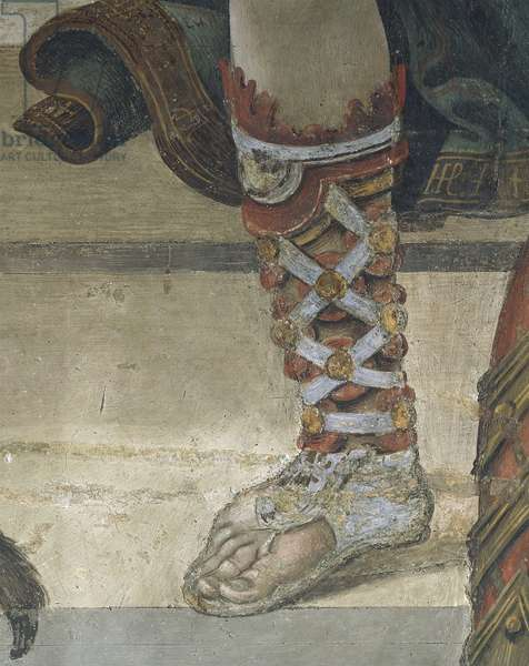 Saint Philip Driving Dragon from Temple of Hieropolis, detail of footwear, fresco, 1502