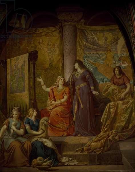 Germany, Fussen, Neuschwanstein Castle, Gudrun in court of Attila Hun, from cycle Ring of Nibelung, by Wilhelm Ernst Ferdinand Franz Hauschild (1827-1887)