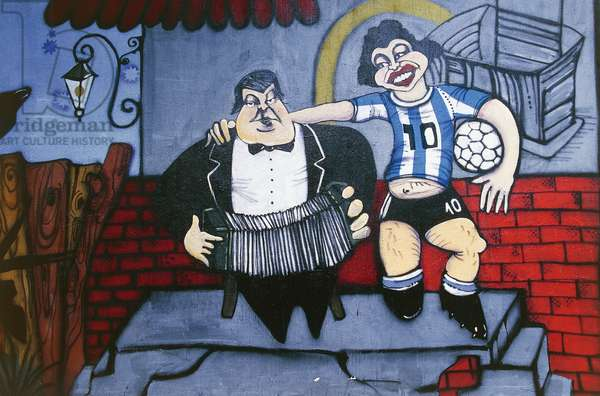 Musician Anibal Troilo and football player Diego Maradona, mural on wall of Caminito alley, La Boca, Buenos Aires, Argentina