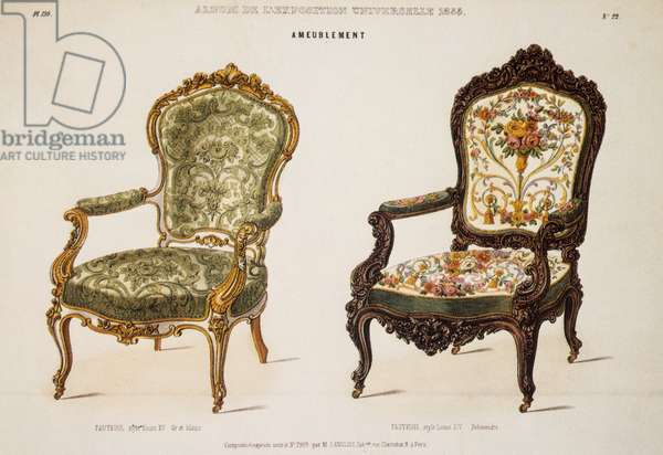 Louis XV Armchair and Louis XIV Armchair, presented by Langlois, a Parisian upholsterer, at the Exposition Universelle of 1855, illustrations taken from Le Magazin des Meubles of Victor Quentin, France, 19th century