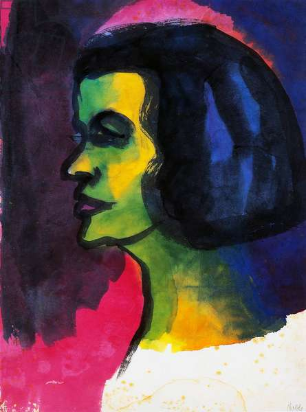 Head of a woman, 1914, by Emil Nolde (1867-1956), watercolour. Germany, 20th century.