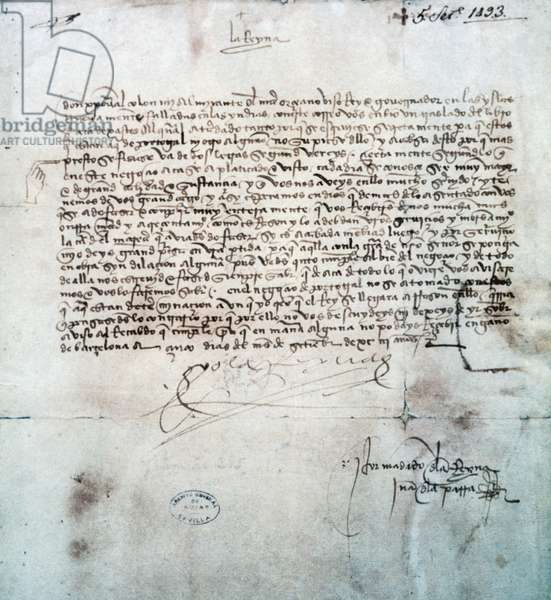 Queen Isabella's letter to Christopher Columbus, 1493, Spain, 15th century
