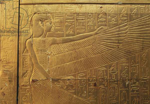 Relief on back outer panel of second funeral chapel, Treasury of Tutankhamun, Egypt, Egyptian civilization, New Kingdom, Dynasty XVIII