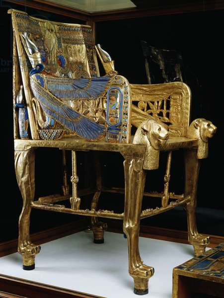 Royal throne of Tutankhamun, Wood, Gold leaf, Silver, Glass gems and precious stones, From Pharaoh's tomb in Thebes, Egypt, Egyptian civilization, New Kingdom, Dynasty XVIII