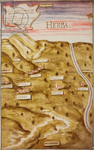 Parish territory of Herba (Erba), parish of Incino Erba, 1610-1611, designed by Aragone Aragonio on occasion of pastoral visit of Cardinal Federico Borromeo, perspective planivolumetric project, tempera ink drawing, Italy, 17th century