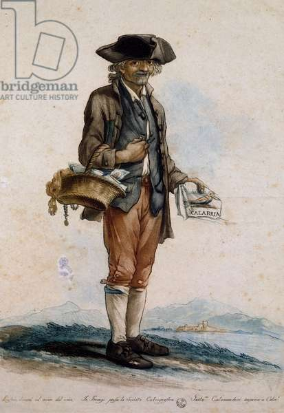 Print vendor, Italy, 18th century