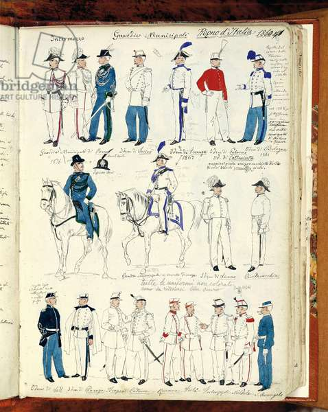 Municipal Guards, military uniforms of the Kingdom of Italy, 1860, watercolor drawn from the Cenni Codex, by Quinto Cenni (1845-1917), Italy, 19th century
