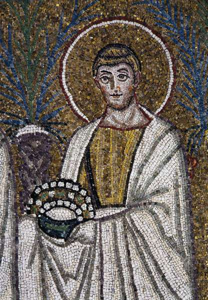 St Lawrence (San Lorenzo), detail from the Saints Procession, mosaic, south wall, lower level, Basilica of Sant'Apollinare Nuovo (UNESCO World Heritage List, 1996), Ravenna, Emilia-Romagna. Italy, 6th century.