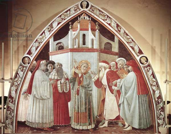 Disputation of St. Stephen, scene from Stories of St. Stephen, 1435-1440,  fresco, Chapel of Assumption, Cathedral of St. Stephen, Prato, Tuscany, Italy, 15th century