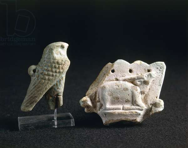Amulets of an oryx and of god Horus portrayed as a hawk