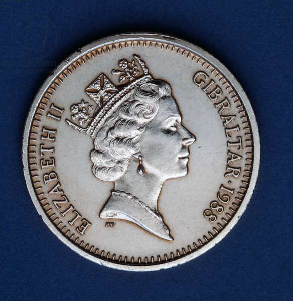 2 pence coin, 1988, obverse, queen Elizabeth II Windsor (1926-), Gibraltar, 20th century