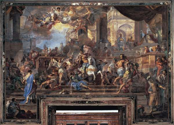 Expulsion of Heliodorus, 1725, fresco by Francesco Solimena (1657-1747), Church of Gesu' Nuovo or Trinita' Maggiore, Naples, Campania, Italy, 18th century