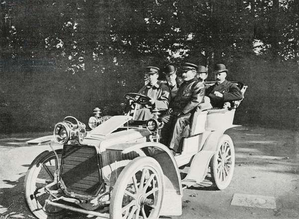 King Alfonso XIII of Spain in car, photograph by Chusseau-Flaviens, from L'Illustrazione Italiana, Year XXXII, No 7, February 12, 1905
