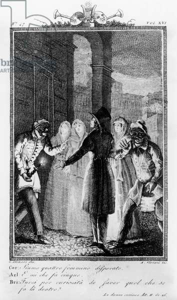 Corallina dressed as man between Brighella and Arlecchino, illustration for Inquisitive women, comedy by Carlo Goldoni (1707-1793), engraving by Antonio Viviani (1797-1854) after drawing by G Steneri, from Commedie di Carlo Goldoni