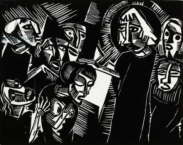 Christ and the Adulteress, 1918, by Karl Schmidt-Rottluff (1884-1976), woodcut, 40x50 cm. Germany, 20th century.