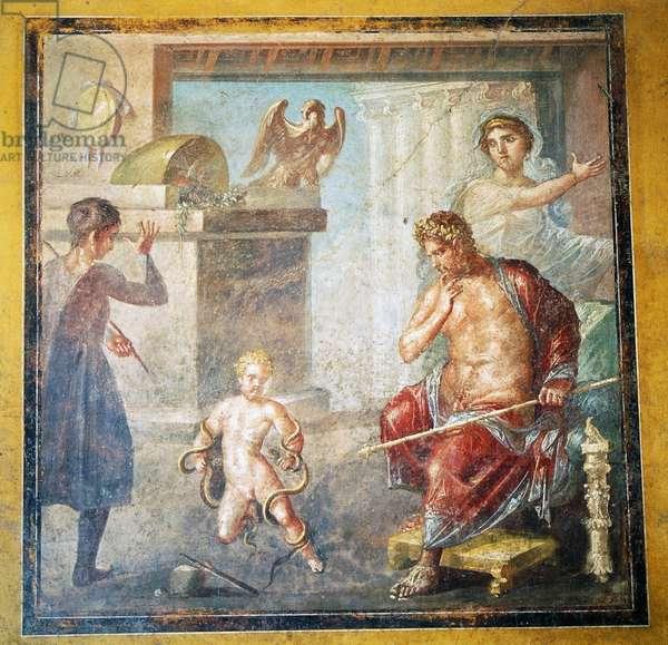 Hercules strangling snakes, fresco in Oecus, House of Vettii, Pompeii (Unesco World Heritage List, 1997), Campania, Italy, Roman civilization, 1st century