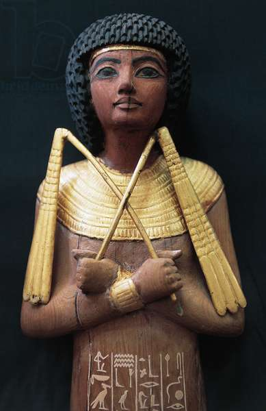 Ushabti, funerary statuette in gilded wood, from Tomb of Tutankhamun, Egyptian civilization, 18th Dynasty