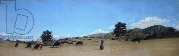Pasture in the mountains, by Raffaello Sernesi (1838-1866).