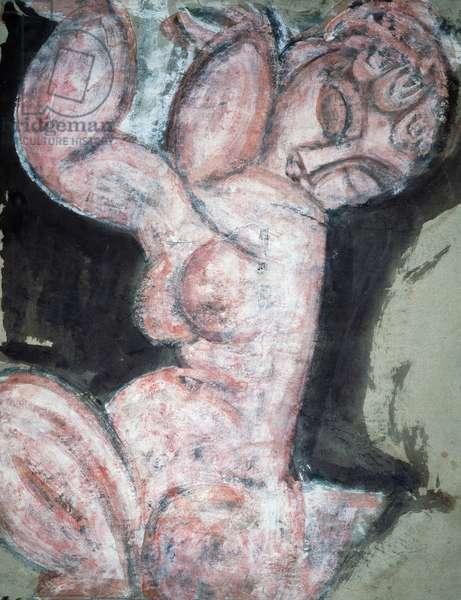 Nude Caryatid, 1913, by Amedeo Modigliani (1884-1920), gouache, chalk on paper, 60x455 cm